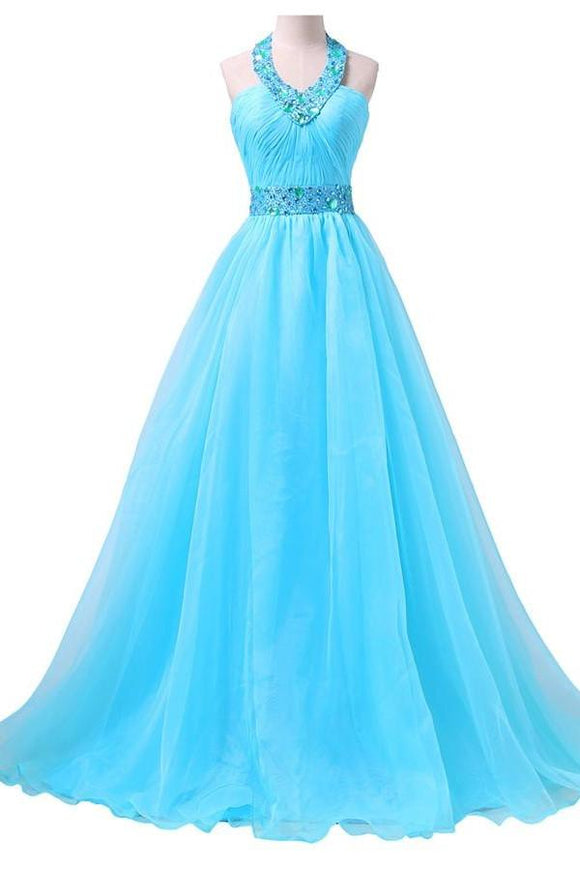 2019 Newest Ice Blue Long Chiffon Beaded Formal Prom Dresses PFP1251