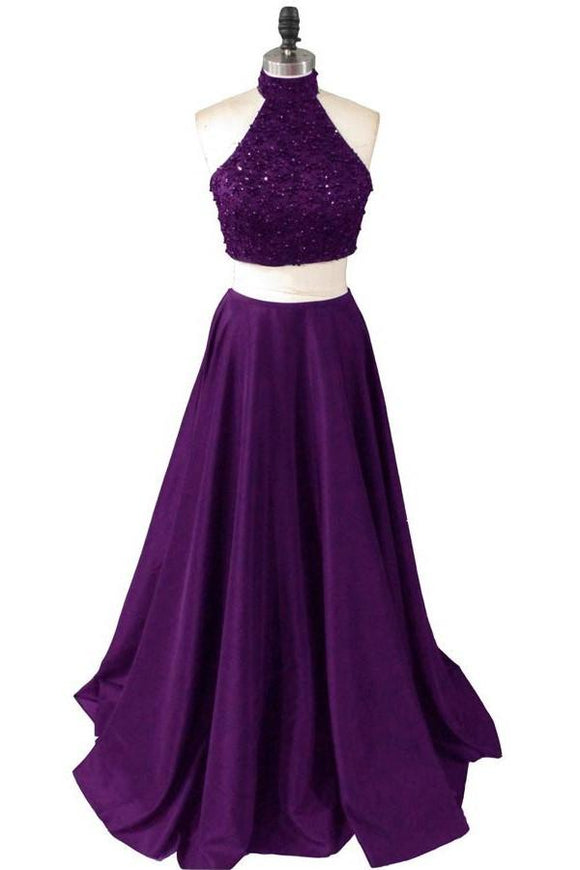 Two Pieces Long Beaded Purple Beauty Prom Dresses 2019 PFP1252