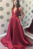 Elegant Burgundy Satin V-neck Long Prom Dress With Pocket PFP0349