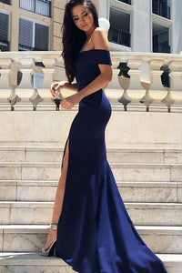 Sexy Off the Shoulder Royal Blue Mermaid Long Evening Dress with Slit PFP0350