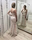 Mermaid Flowers V Neck Prom Dresses, Fashion Long Evening Dress PFP0525