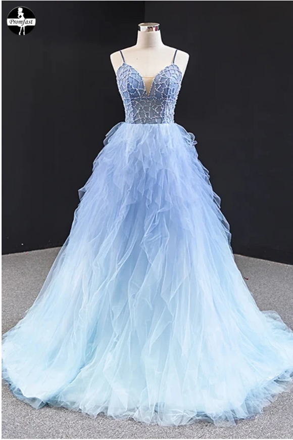 Promfast Cheap Long Light Blue Tulle Beaded Open Back Ruffles Prom Dress online PFP1956