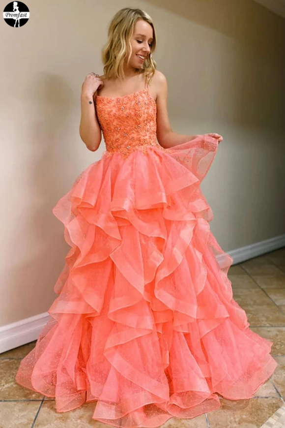 Promfast Coral Backless Tulle Beaded Long Prom Gowns, Spaghetti Straps Layers Prom Dress PFP1962
