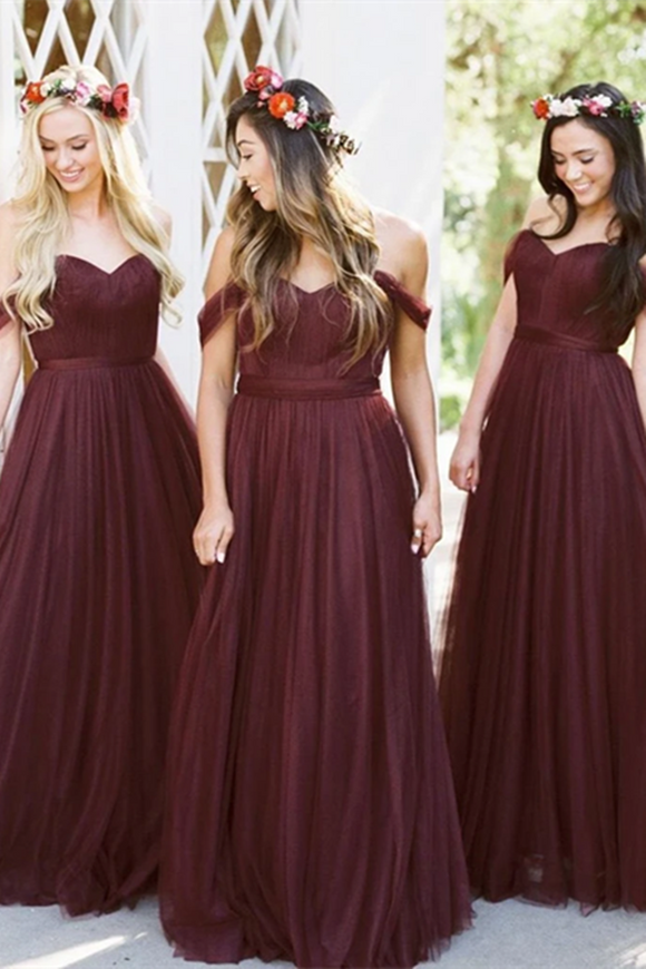 Promfast Cheap Burgundy Bridesmaid Dresses Long Bridesmaid Dresses PFB0159