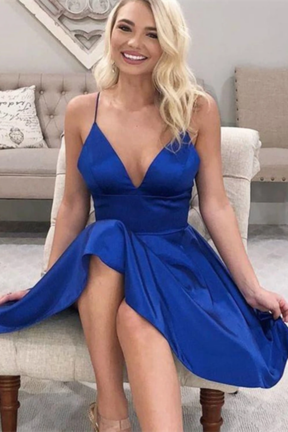 Promfast A Line V Neck Short Royal Blue Prom Dresses, Short Royal Blue Formal Graduation Dresses PFH0326