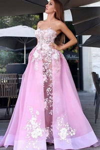 New A-Line Sweetheart Sweep Train Pink Tulle Prom Dress with Lace Appliques PFP0354