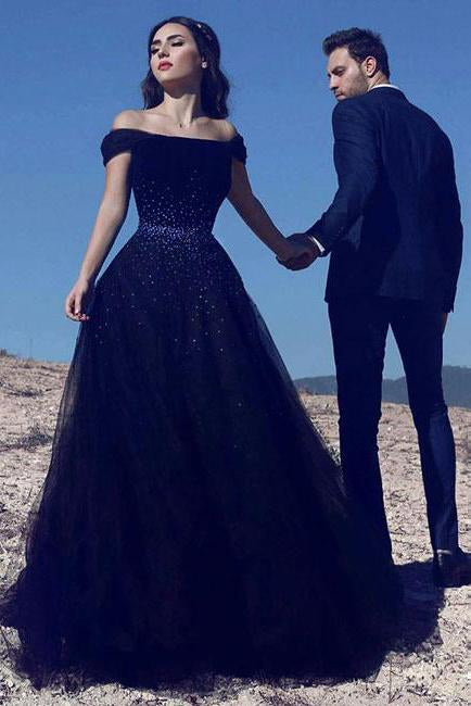 Navy Blue A Line Off Shoulder Tulle Beaded Long Prom Dress PFP0355