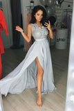 Elegant Gray Chiffon Split Long Sleeveless V Neck Prom Dresses PFP0356