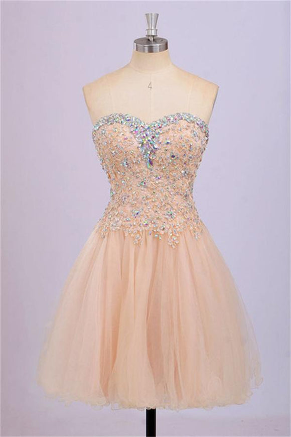 Back Up Lace Beaded Blush Pink Sweetheart Homecoming Dresses PFP1261