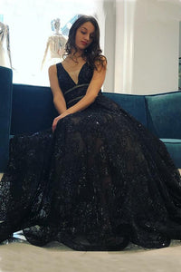 Beautiful A-Line V-Neck Floor-Length Black Lace Long Prom Dress PFP0357
