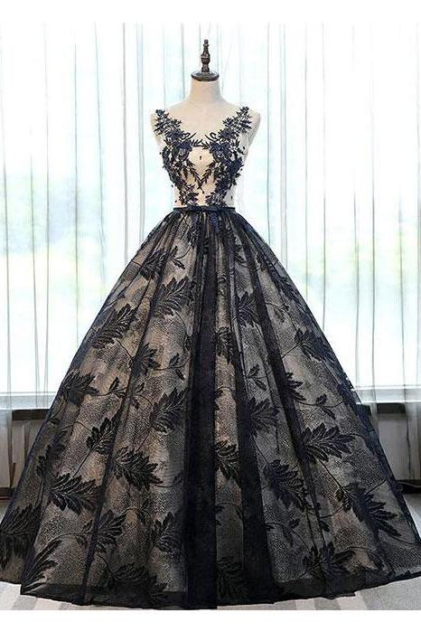 2019 Ball Gown Black Lace Long Prom Dresses With Applique PFP0359