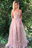 Princess Strapless A Line Dusty Pink Long Formal Prom Dress Evening Dress PFP0361
