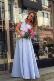 Cheap Light Blue Satin Two Piece Lace Top Floor Length Prom Dress PFP0365