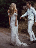 Ivory Lace Sheath Sweetheart Neck Boho Beach Wedding Dresses PFW0021