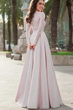 Lace Top Satin Jewel Neckline Long Sleeves A-line Prom Dress Evening Dress PFP0366