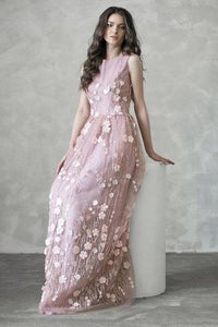 Chic A-line Long Pink Flowers Applique Cheap Prom Dress PFP0370