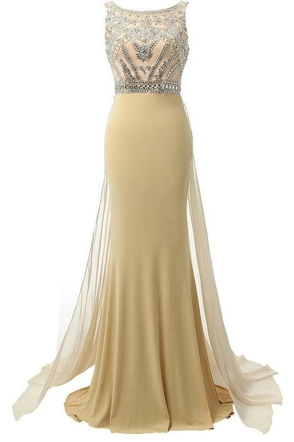 Beauty Mermaid Champagne Long Beaded Prom Party Dresses PFP1273