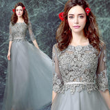 Grey Floor-length Half Sleeve Tulle Long Prom Dress,A line Evening Dress PFP0371