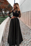 Two Piece Long Sleeve Floor-Length Black Prom Dress with Lace Appliques