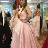 New Two Piece A-line Floor-length Long Puffy Prom Dress With Ruffles PFP0372