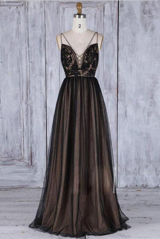Chic Black Long Straps Tulle A Line Prom Dress,Evening Dresses PFP0374