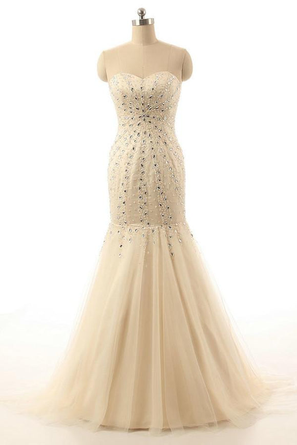Mermaid Open Back Sweetheart Long Champagne Prom Dresses PFP1277