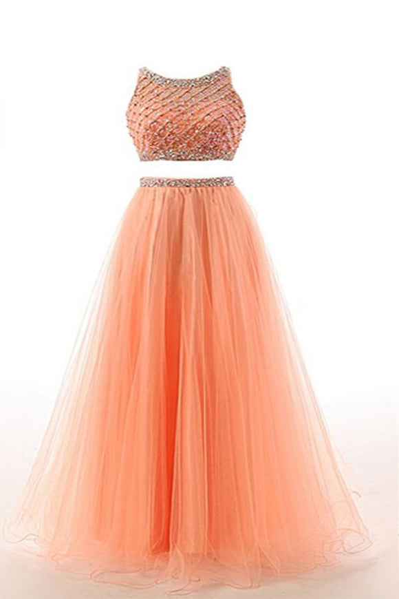 Two Pieces Orange Red Beaded Long Prom Graduation Dresses PFP1281