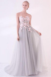 Grey Long Applique Tulle Evening Dress Sweetheart Formal Prom Dress PFP0378