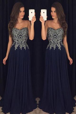 Sweetheart Navy Blue Appliques Chiffon Long Prom Gown PFP0382