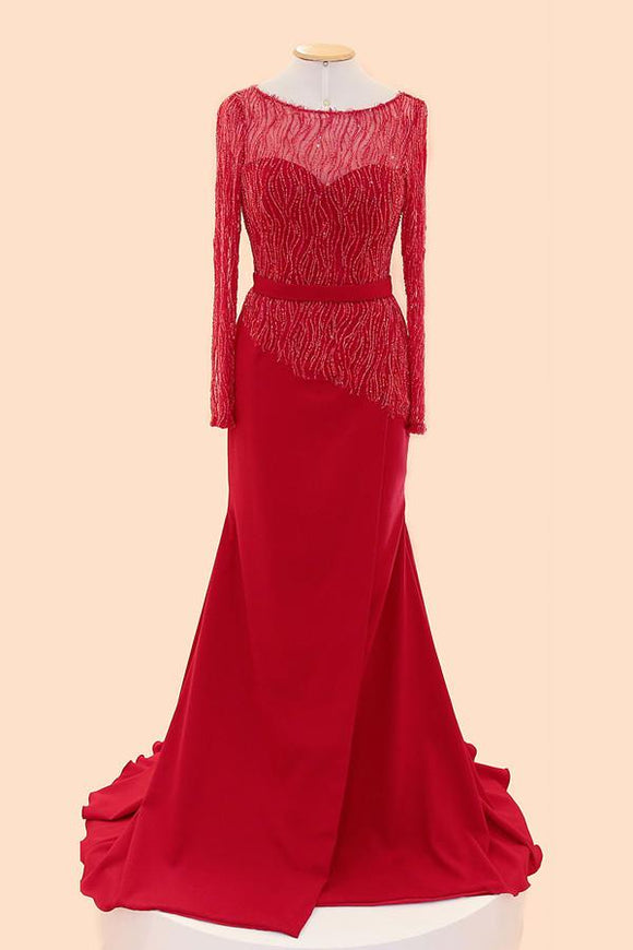 Long Sleeves Red Beaded Cap Sleeves Prom Party Dresses PFP1286