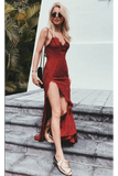 Charming Red Lace Spaghetti Straps Long Prom Dress With Sexy Slit PFP0388