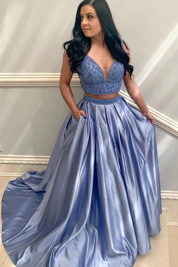 Promfast Two Piece V Neck Blue Satin Beaded Prom Dress Evening Dress With Pockets PFP1890