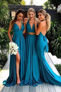 Simple Deep V-Neck Long Blue Backless Bridesmaid Dresses With Split