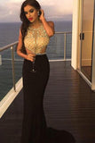 Sexy Black Mermaid Prom Dresses,Long Beading Formal Woman Evening Dress PFP0386