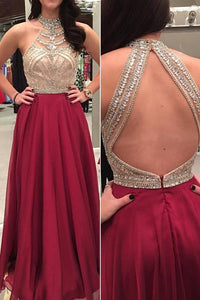 Crystal Beading Sexy Long Sleeveless Open Back Evening Dress,Prom Dress PFP0389