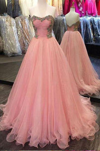 Sweetheart Strapless A Line Tulle Pink Prom Dresses With Beading PFP0390
