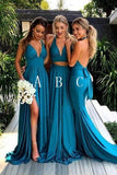 Simple Deep V-Neck Long Blue Backless Bridesmaid Dresses With Split PFB0095