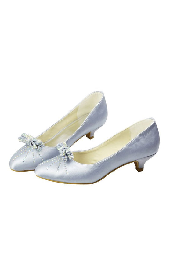 Beading Low Heel Handmade Women Shoes With Bow Knot