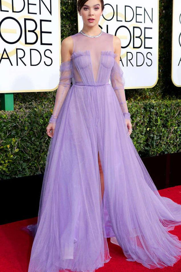 Celebrity Lilac Tulle Long Sleeves A Line See Through Prom Dress With Slit PFP0392