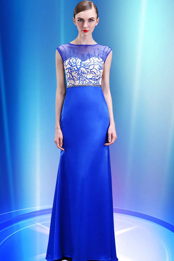 Sheath Royal Blue Mermaid Cap Sleeves Long Prom Dresses PFP1292