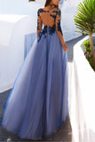 Charming Long Sleeve Appliques Sexy See Though Blue Prom Dresses PFP0394