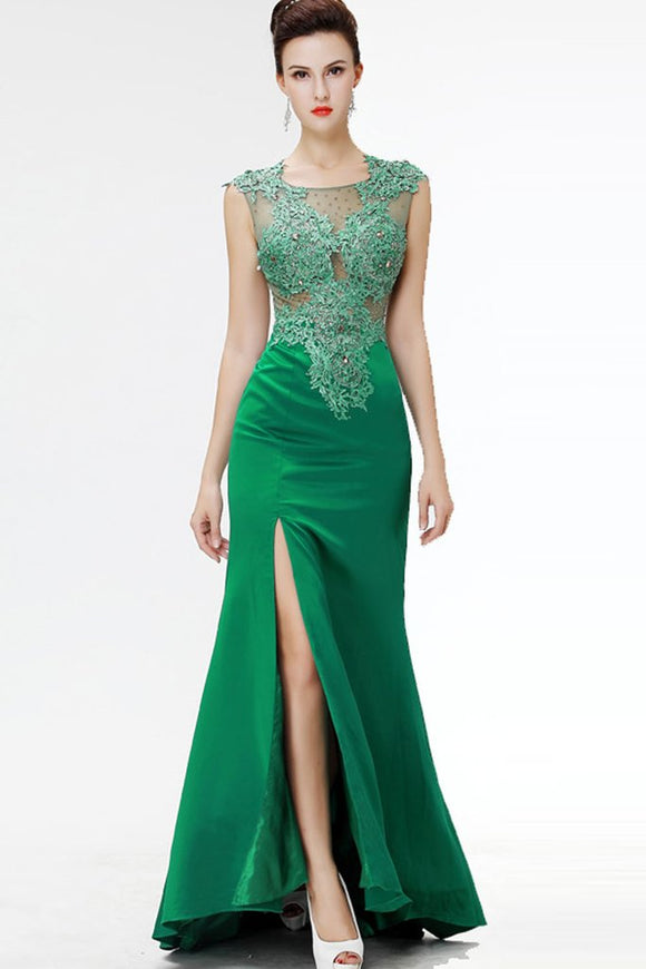 Green Lace Beaded See Through Mermaid Sexy Prom Dresses PFP1293