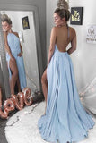 Halter Blue Backless Chiffon Sexy Long Prom Dress with Split PFP0395