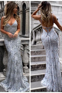 Sexy V-Neck Mermaid Sequined Lace Spaghetti Strips Backless Long Prom Dresses PFP0397