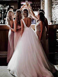 Simple Modest Wedding Gowns With Bownot Cheap Tulle Backless Wedding Dress PFW0022