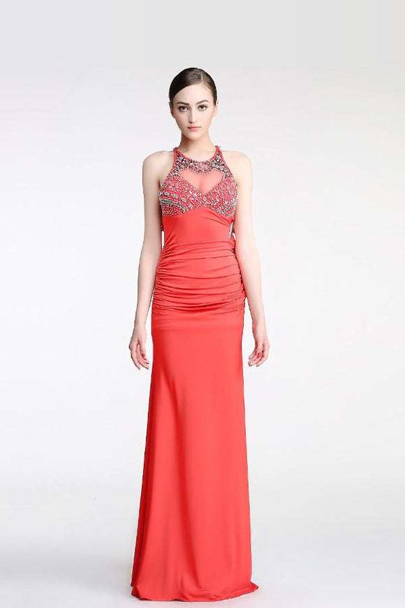 Backless Watermelon Sheath Mermaid Beaded Prom Dresses PFP1294
