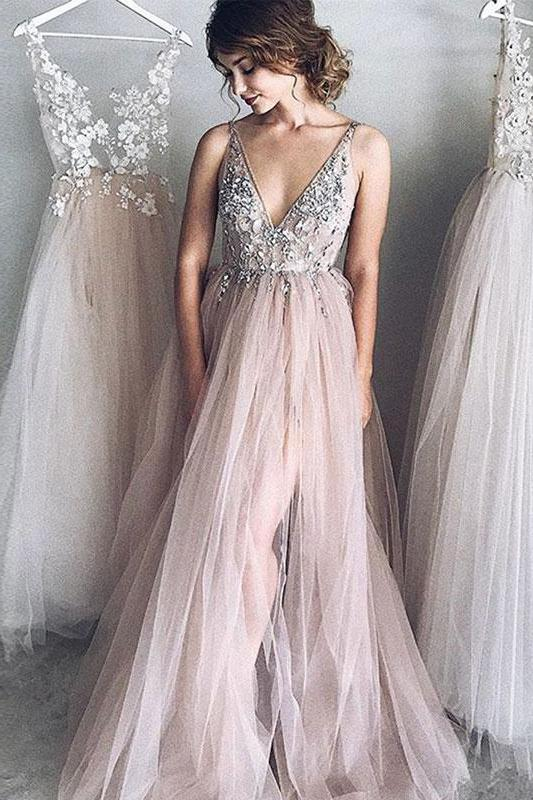 A-Line Deep V-Neck Tulle Prom Dress,Long Evening Dress with Beading PFP0398