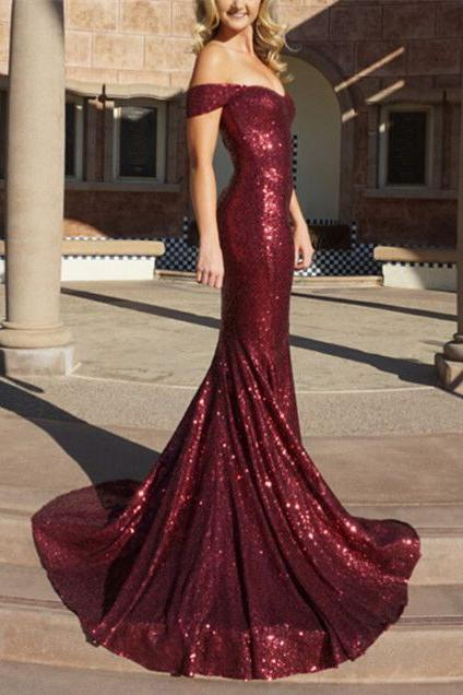 Burgundy Mermaid Sequined Off the Shoulder Prom Dress,Long Evening Dress PFP0399