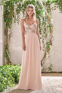 Rose Gold A Line Spaghetti Straps Prom Gown Backless Sequins Chiffon Bridesmaid Dress