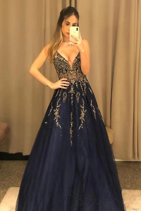 Promfast V Neck Line Sexy Party Dress Navy Blue Appliques Long Prom Dress With Beading PFP1892